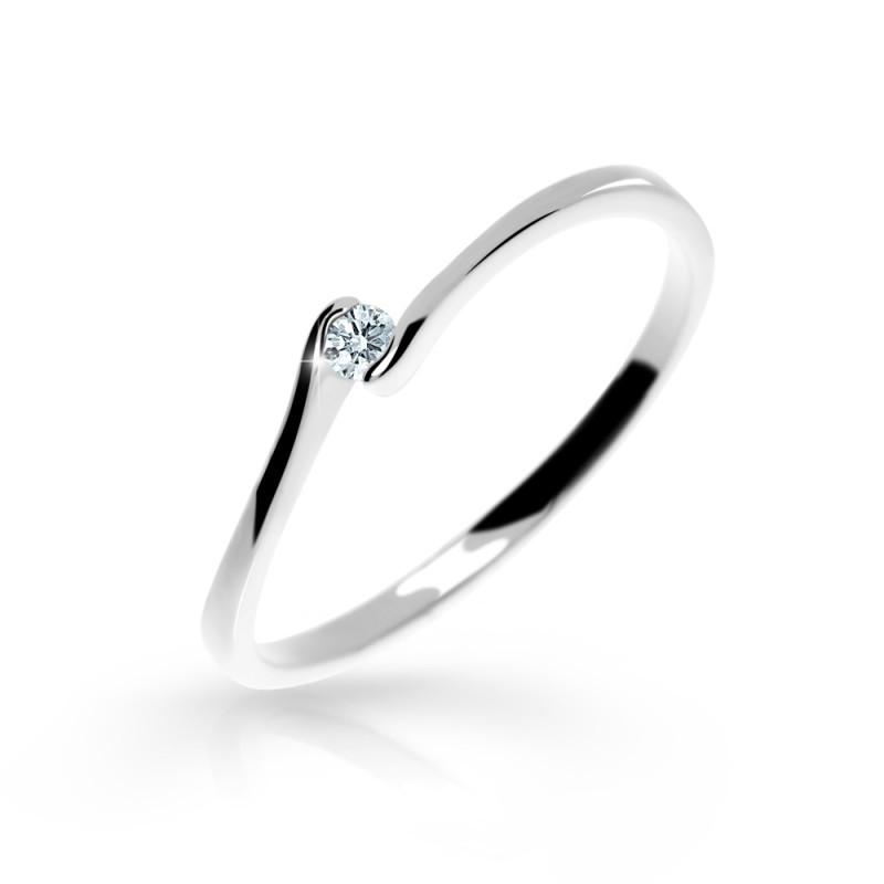 Danfil Zlatý zásnubní prsten DF 2947, bílé zlato, s briliantem
