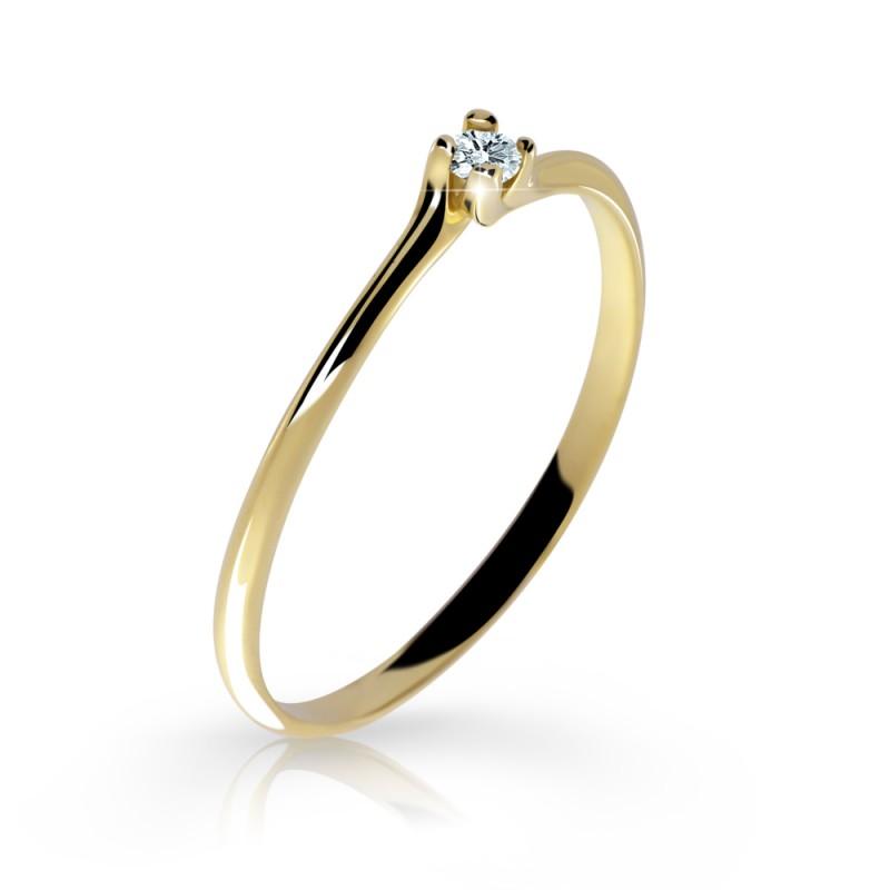 Danfil Zlatý zásnubní prsten DF 2948, žluté zlato, s briliantem