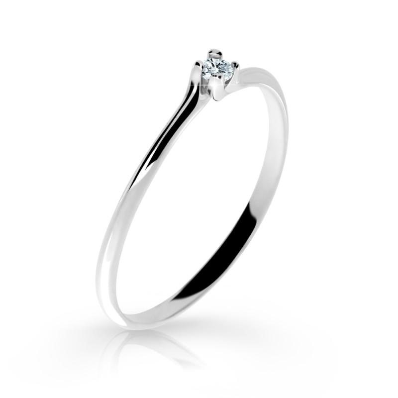 Danfil Zlatý zásnubní prsten DF 2948, bílé zlato, s briliantem