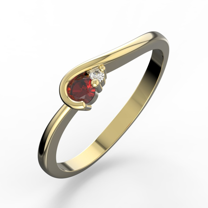 Danfil Zlatý dámský prsten DF 2953 ze žlutého zlata, rubín s diamanty