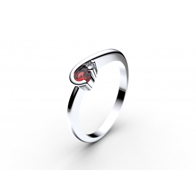 Danfil Zlatý dámský prsten DF 2953 z bílého zlata, rubín s diamanty