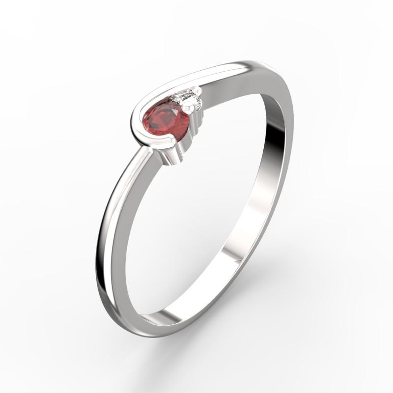 Danfil Zlatý dámský prsten DF 2953B z bílého zlata, rubín s diamanty