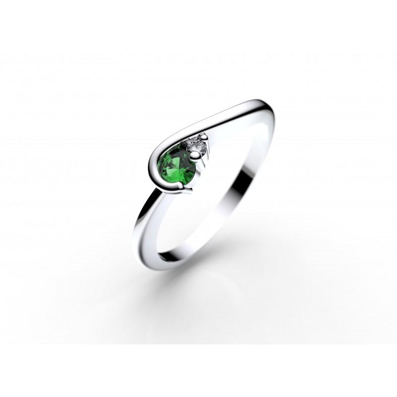 Danfil Zlatý dámský prsten DF 2953 z bílého zlata, smaragd s diamanty