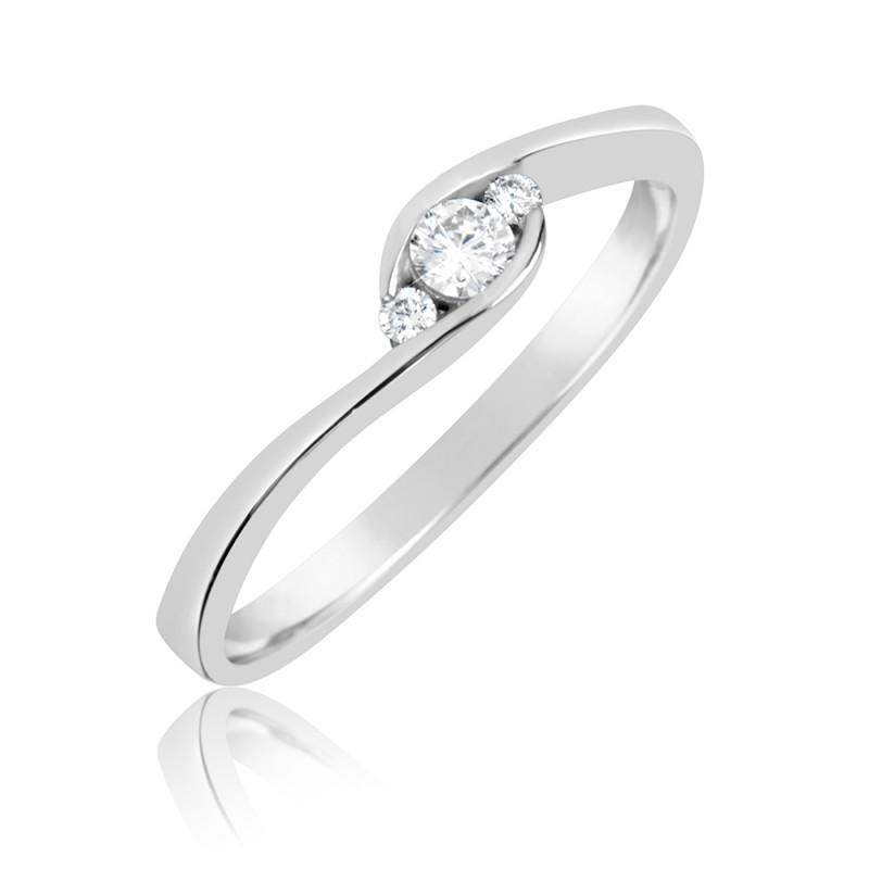 Danfil Zlatý zásnubní prsten DF 2954, bílé zlato s brilianty