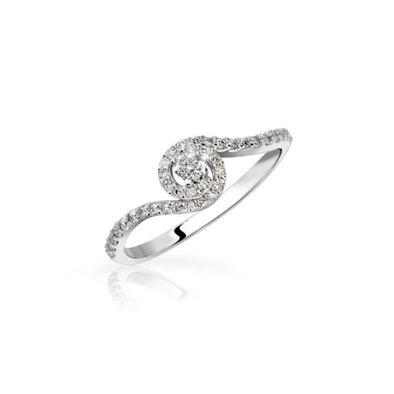 Danfil Zlatý zásnubní prsten DF 3052, bílé zlato, s briliantem