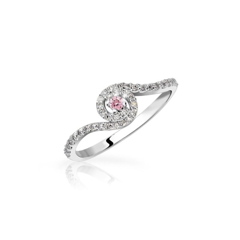 Danfil Zlatý zásnubní prsten DF 3052, bílé zlato, růžový safír s diamanty