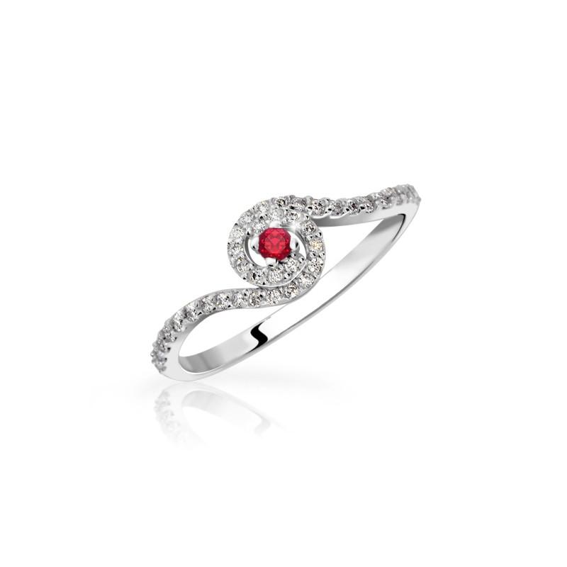 Danfil Zlatý zásnubní prsten DF 3052B, bílé zlato, rubín s diamanty