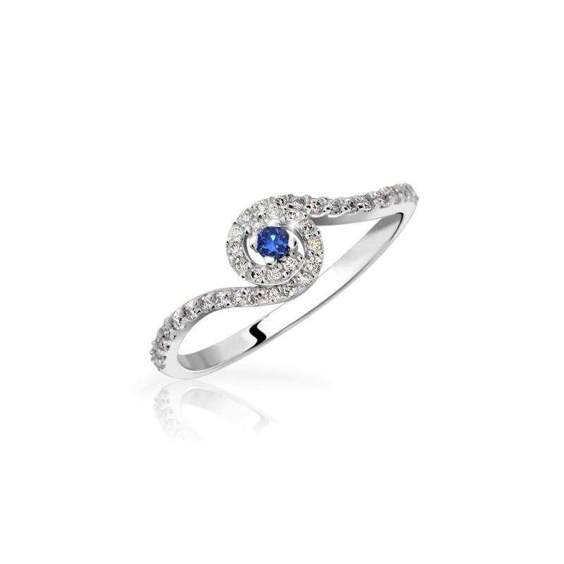 Danfil Zlatý zásnubní prsten DF 3052, bílé zlato, safír s diamanty