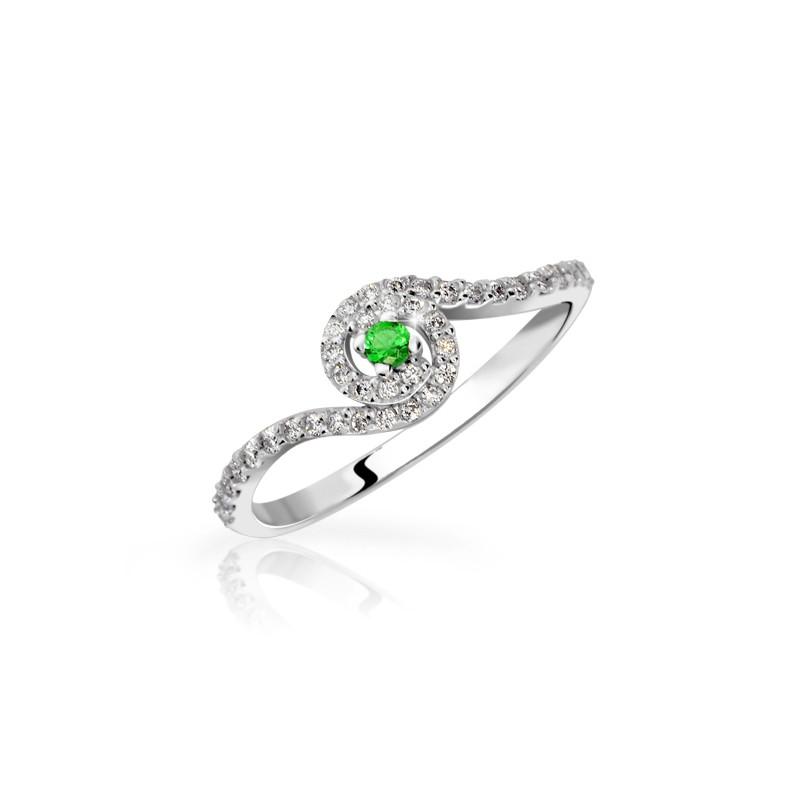 Danfil Zlatý zásnubní prsten DF 3052, bílé zlato, smaragd s diamanty