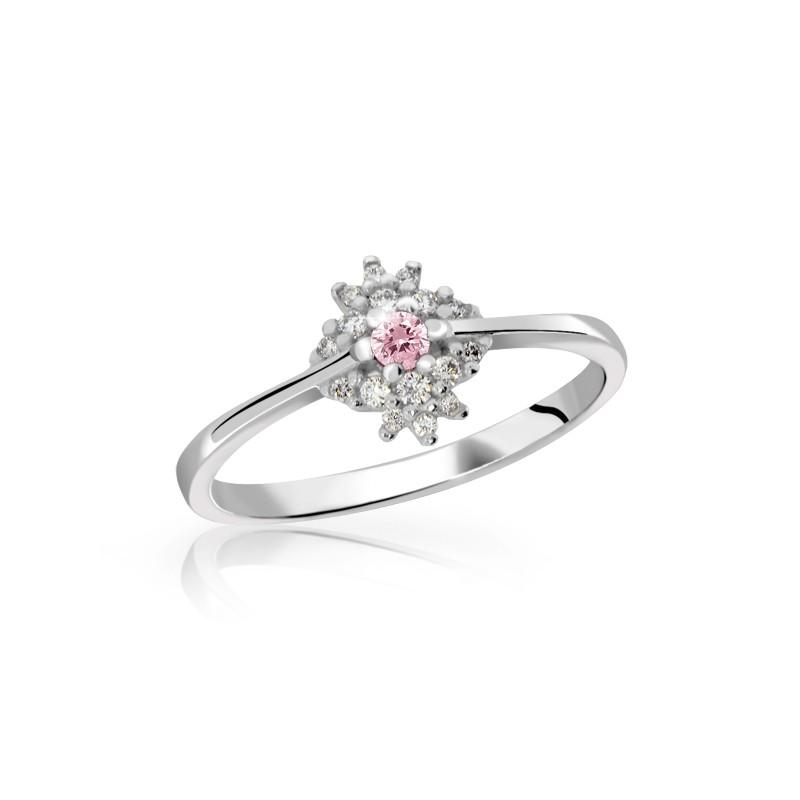 Danfil Zlatý dámský prsten DF 3055 z bílého zlata, růžový safír s diamanty