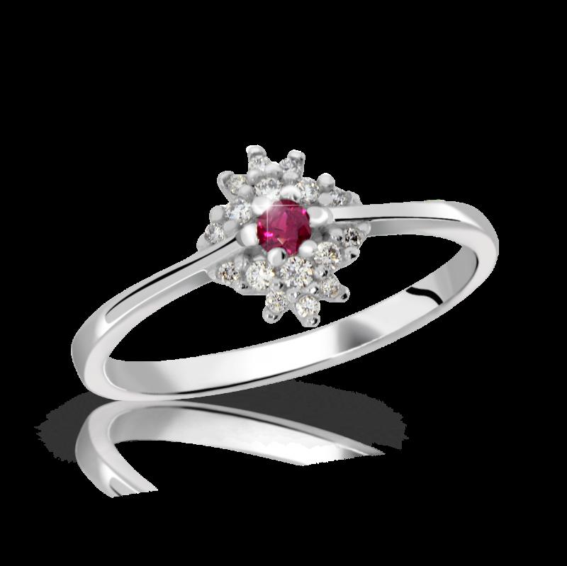 Danfil Zlatý dámský prsten DF 3055B z bílého zlata, rubín s diamanty