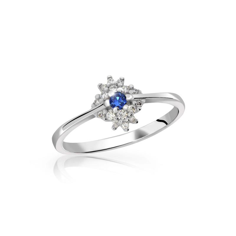 Danfil Zlatý dámský prsten DF 3055 z bílého zlata, safír s diamanty