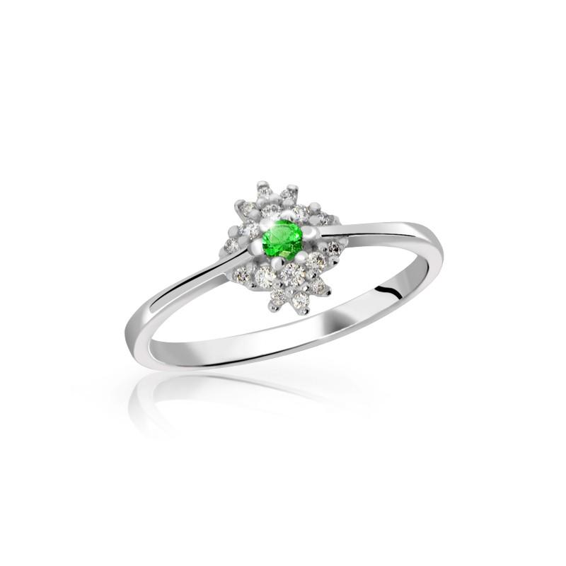 Danfil Zlatý dámský prsten DF 3055 z bílého zlata, smaragd s diamanty