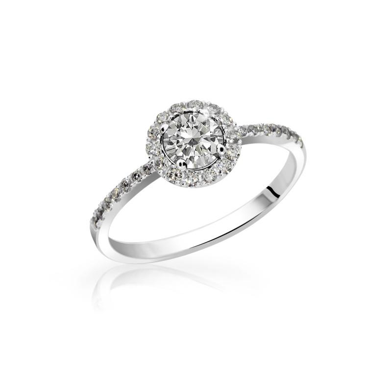Danfil Zlatý zásnubní prsten DF 3098, bílé zlato, s diamantem