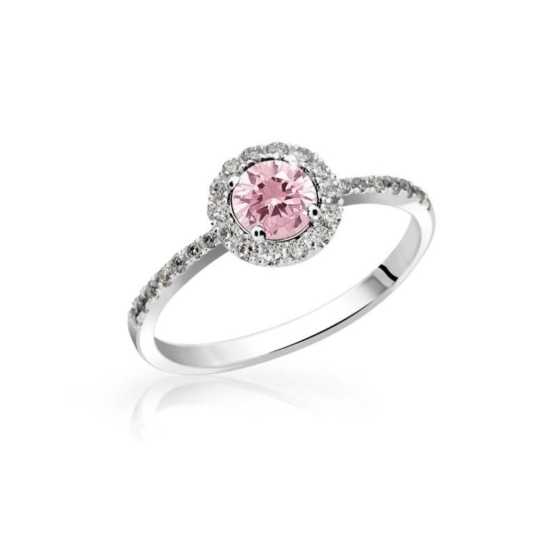 Danfil Zlatý zásnubní prsten DF 3098, bílé zlato, růžový safír s diamanty