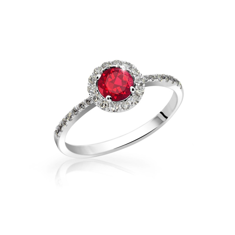Danfil Zlatý zásnubní prsten DF 3098B, bílé zlato, rubín s diamanty