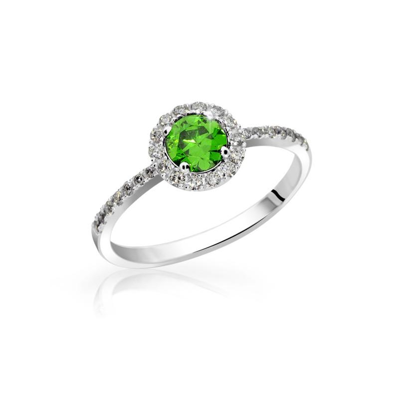 Danfil Zlatý zásnubní prsten DF 3098B, bílé zlato, smaragd s diamanty