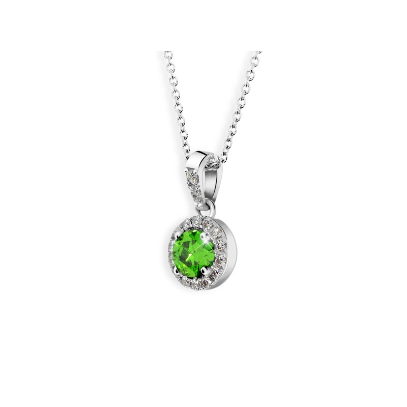 Danfil Zlatý dámský přívěsek DF 3099, bílé zlato, smaragd s diamanty + Doživotní servis zdarma, Dárkové balení, Certifikát pravosti kamene