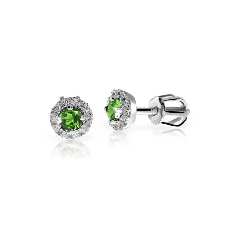 Danfil Zlaté dámské náušnice DF 3100, smaragd s diamanty , bílé zlato + Doživotní servis zdarma, Dárkové balení, Certifikát pravosti kamene