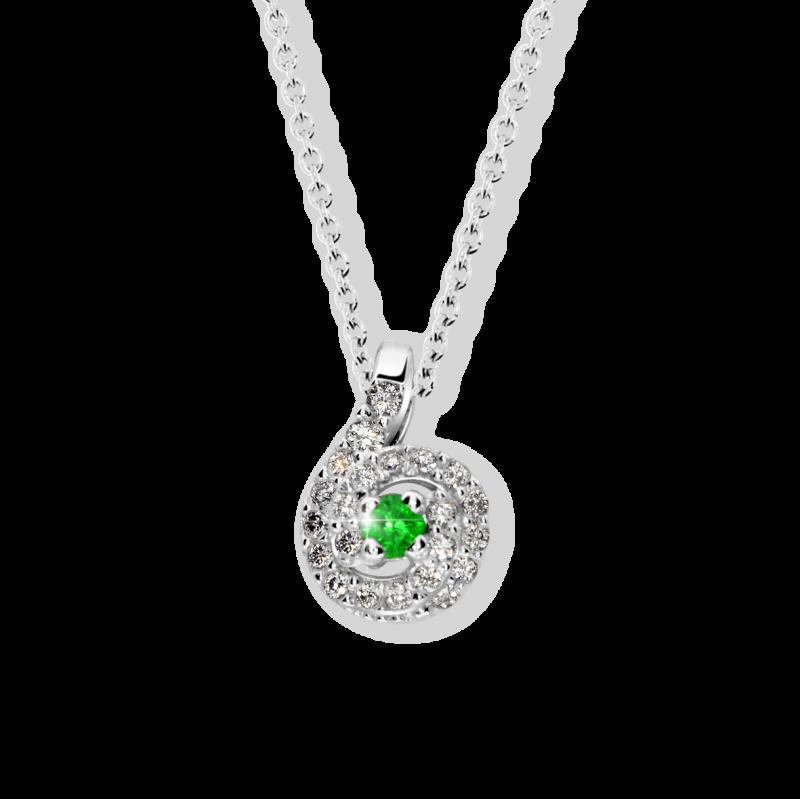 Danfil Zlatý dámský přívěsek DF 3157, bílé zlato, smaragd s diamanty