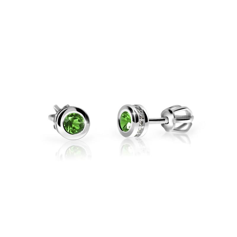 Danfil Zlaté dámské náušnice DF 3239, smaragd s diamanty , bílé zlato + Doživotní servis zdarma, Dárkové balení, Certifikát pravosti kamene