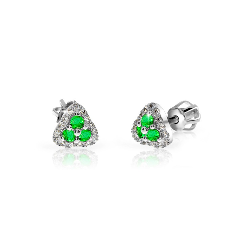 Danfil Zlaté dámské náušnice DF 3264, smaragd s diamanty , bílé zlato + Doživotní servis zdarma, Dárkové balení, Certifikát pravosti kamene