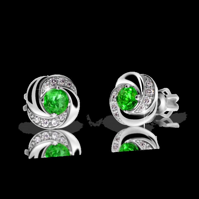 Danfil Zlaté dámské náušnice DF 3265, smaragd s diamanty , bílé zlato + Doživotní servis zdarma, Dárkové balení, Certifikát pravosti kamene