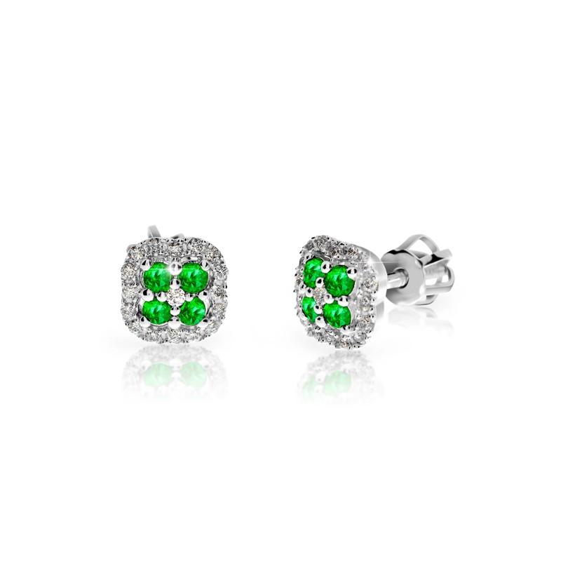 Danfil Zlaté dámské náušnice DF 3266, smaragd s diamanty , bílé zlato + Doživotní servis zdarma, Dárkové balení, Certifikát pravosti kamene