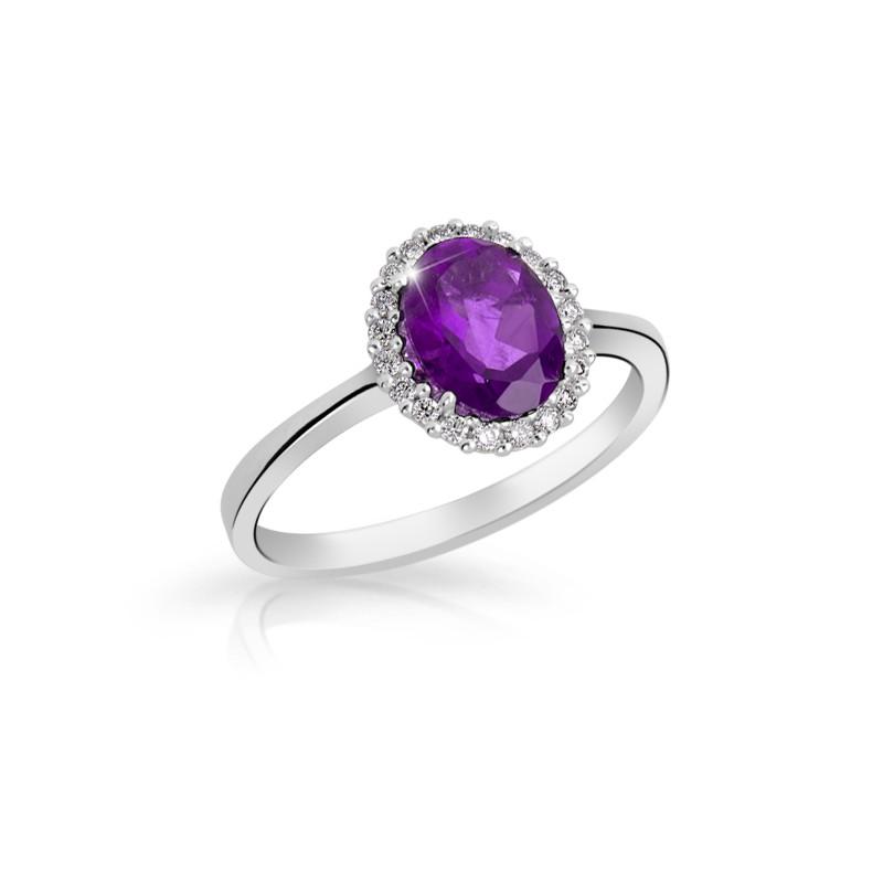 Danfil Zlatý zásnubní prsten DF 3520, bílé zlato, diamanty, ametyst