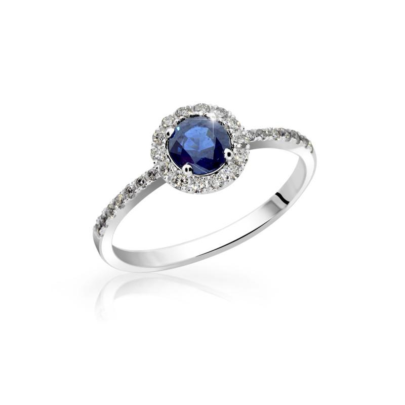 Danfil Zlatý zásnubní prsten DF 3098, bílé zlato, safír s diamanty